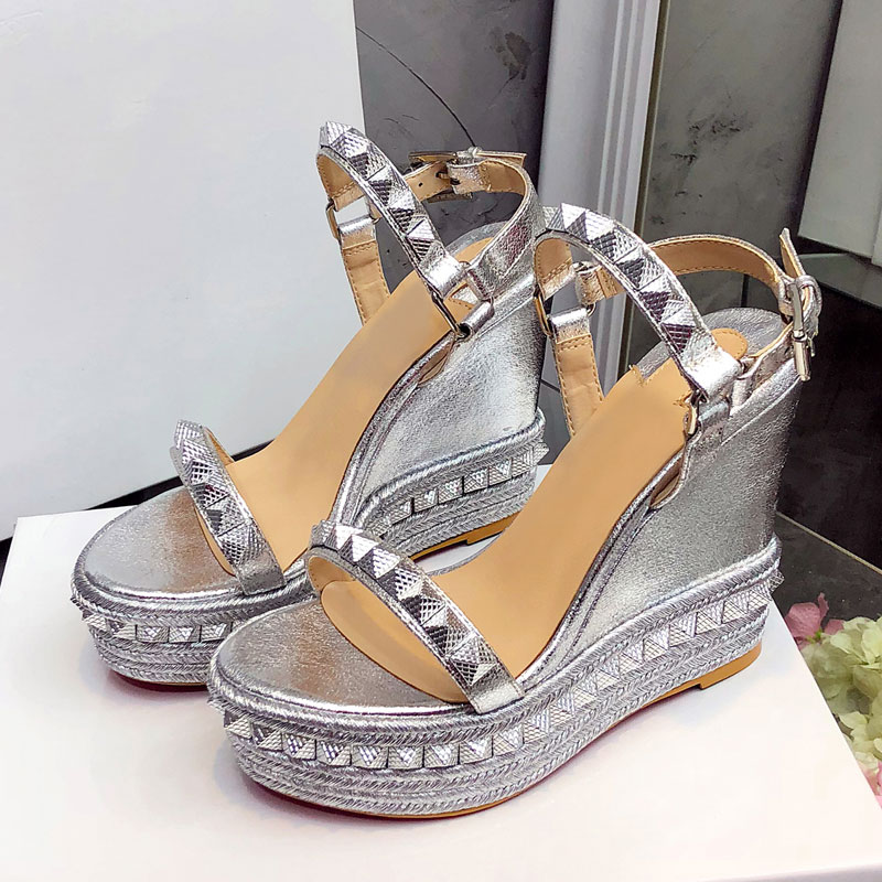 MEW Platform Sandals Women Open Toe Rivet Mixed Color Wedges Shoes For Women Runway High Heels Gladiator Party Dress Shoes Woman
