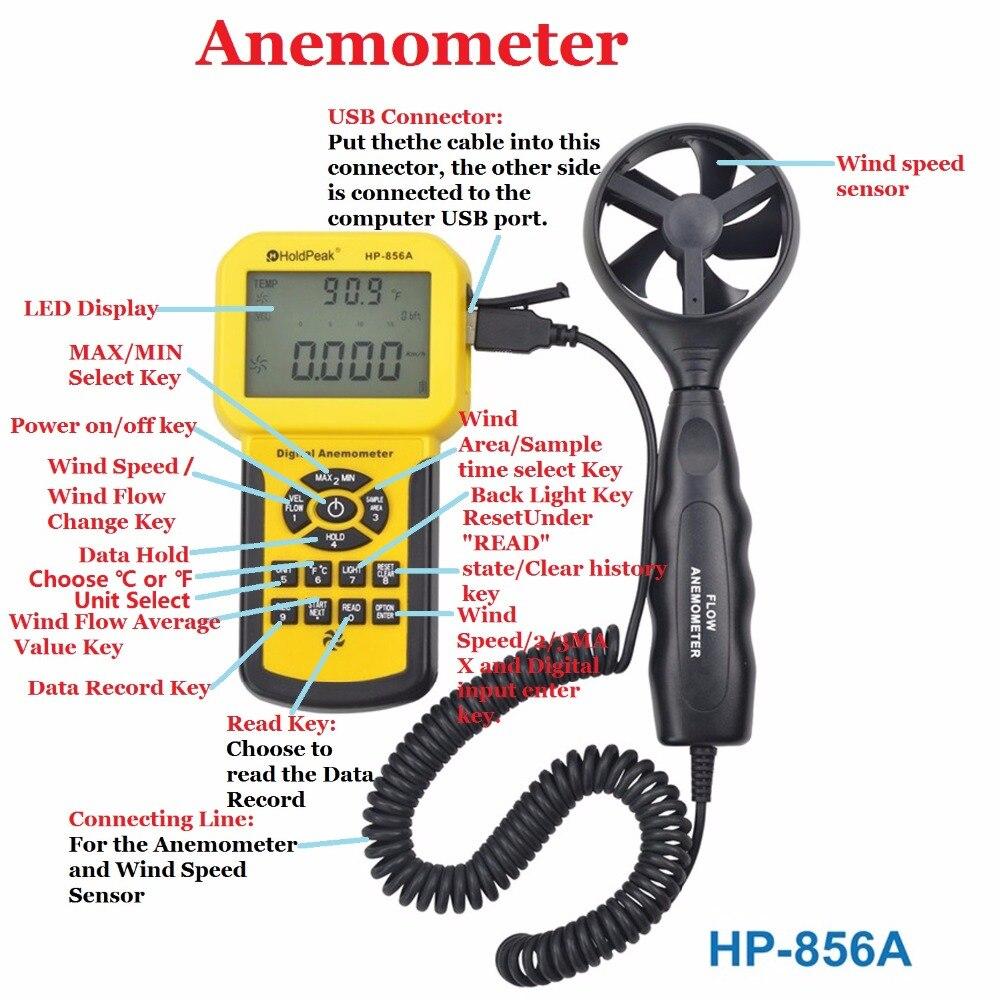 Anémomètre de HP-856A de HoldPeak de mètre de Volume d'air de vitesse de vent numérique USB/tenu dans la main avec l'enregistreur de données - 2