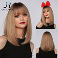 La Sylphide Synthetic Wig Long Straight Root Dark Brown Ombre Brown Bob Inner Buckle with Bangs for Woman Wigs Daily Use Party