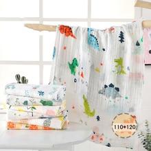 1 шт., муслин, 110*120 см, хлопок, детские пеленки, мягкие одеяла для новорожденных, для ванной, марля, Детская накидка, спальный мешок, чехол для коляски, игровой коврик
