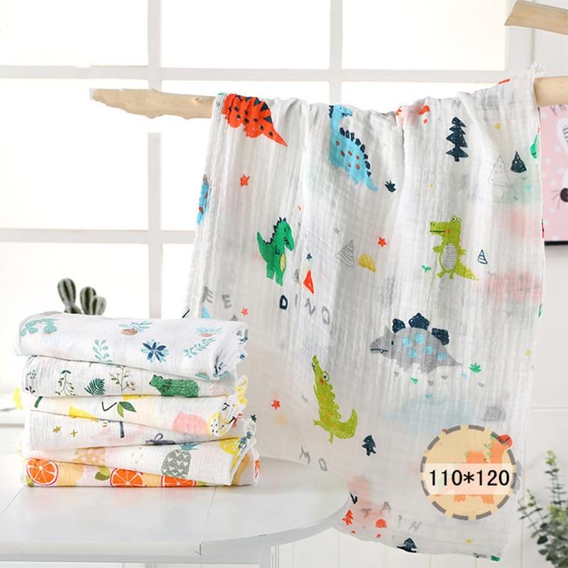 1Pc muslin 110 * 120CM Cotton Baby Swaddles Mềm sơ sinh Chăn tắm Gạc cho trẻ sơ sinh Bọc áo ngủ Vỏ xe đẩy Chơi Mat voi