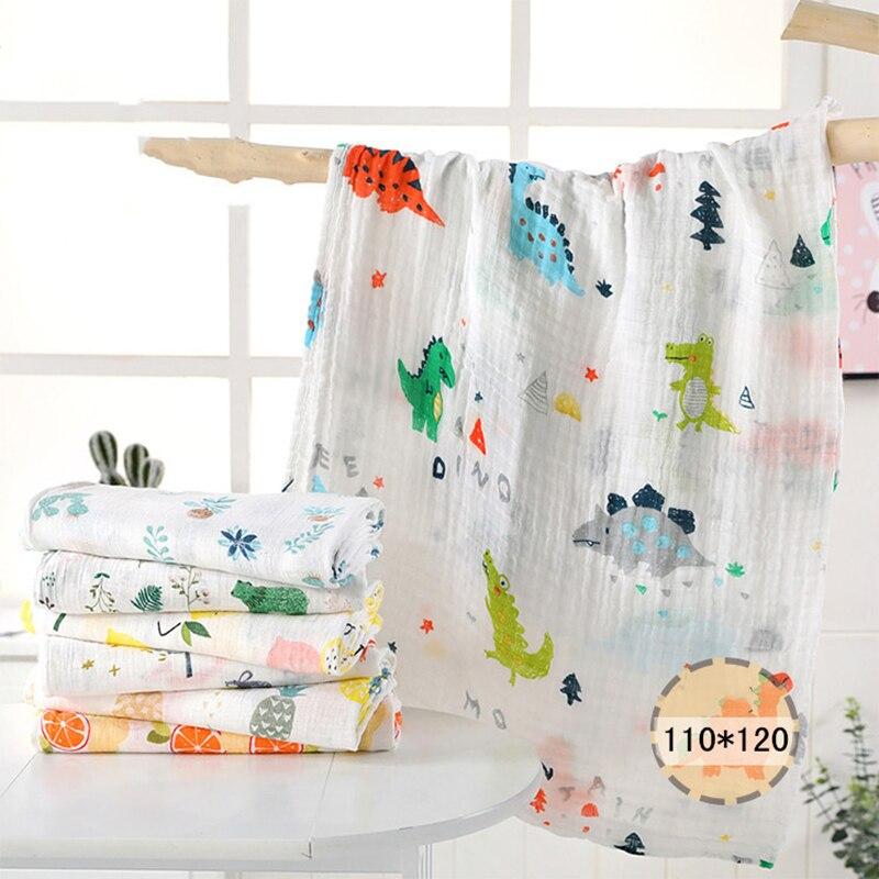 1Pc Muslin 110*120CM Cotton Baby Swaddles Soft Newborn Blankets Bath Gauze Infant Wrap Sleepsack Stroller Cover Play Mat