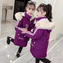 New2019 Fashion Girls clothing Winter Warm down Cotton Jackets Children Fur Collar Coats Girl Thickening Hooded kids Clothes(China)