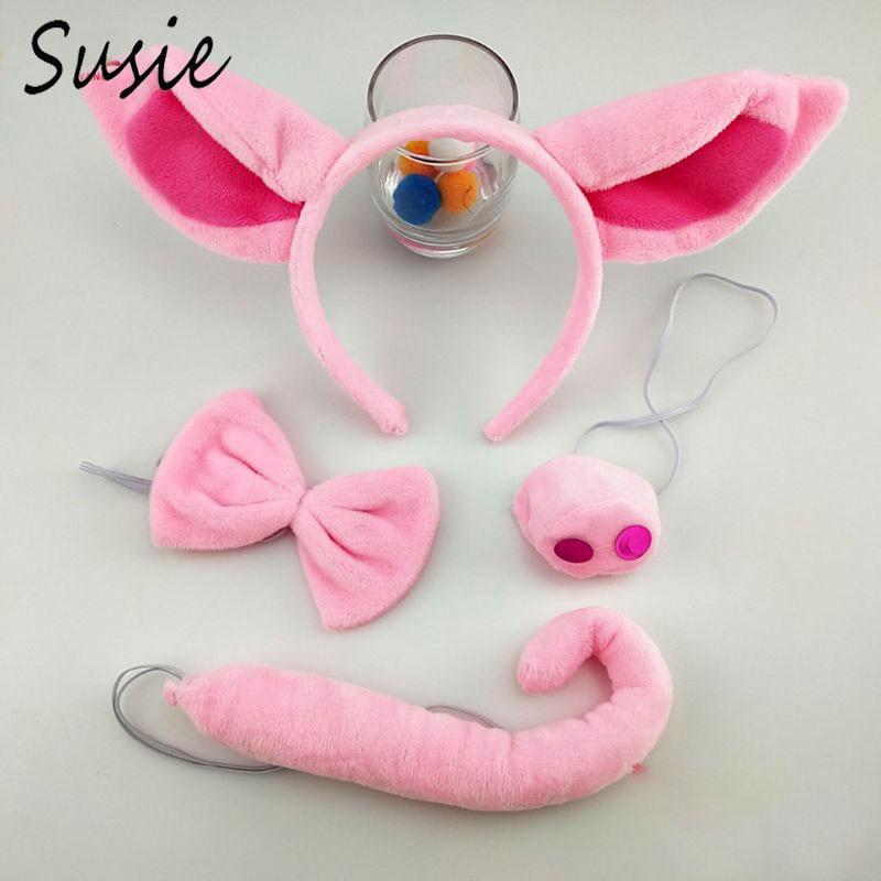 Super Soft Pig Ear Headband Nose Tail Halloween Animal Headdress Dress Up Accessories Pink Piggy Head Hoop Set Cosplay Props