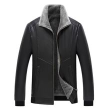 Mens Leather Jackets and Coats Biker Jacket Fur Collar Faux Coat Men Winter