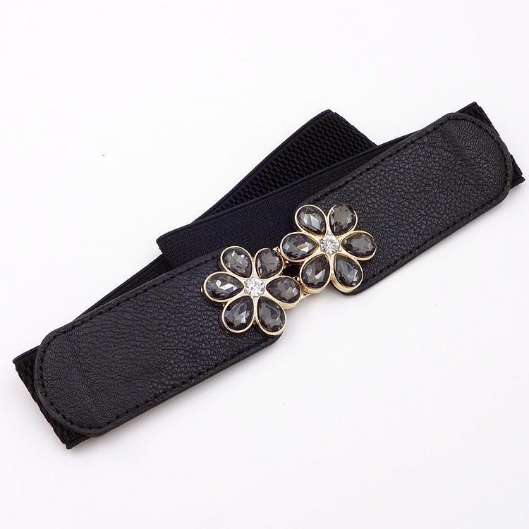 New Womens Crystal Plum Blossom Mouth Belts Dress Wild Fashion Decoration Ladies High-grade Black Buckle Elastic Waist Belt