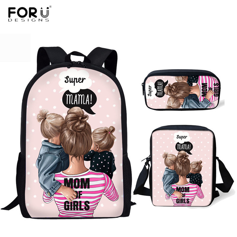 FORUDESIGNS Super Mom School Bags Harajuku Kawaii Backpack for Kids Girls Casual 3pcs Schoolbags Orthopedic Rucksack Mochilas