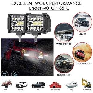 Image 2 - Aeobey barre de lumière LED 4 pouces 60W étanche barre de lumière de travail faisceau dinondation pour le travail conduite Offroad bateau voiture tracteur camion SUV