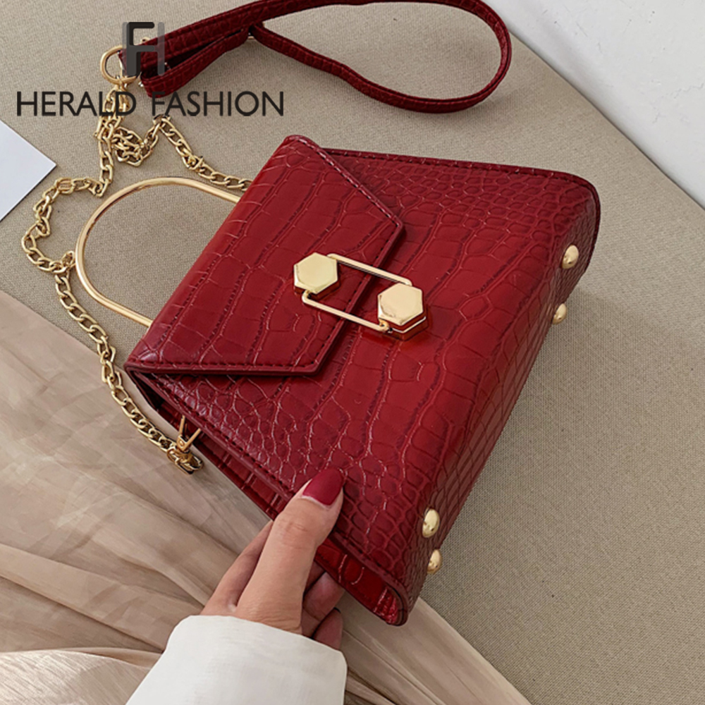 Crocodile Pattern PU Leather Saddle Bag For Women 2020 Small Solid Color Shoulder Messenger Bag Female Retro Crossbody Handbags