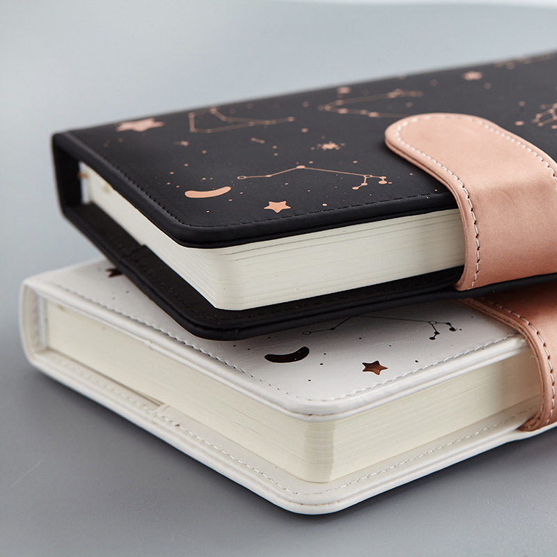 Notebook Starry Sky Pattern A6 Small Size Diary Agenda Planner Fullyear Undated Daily&Monthly Plan Soft Leather 288 Pages