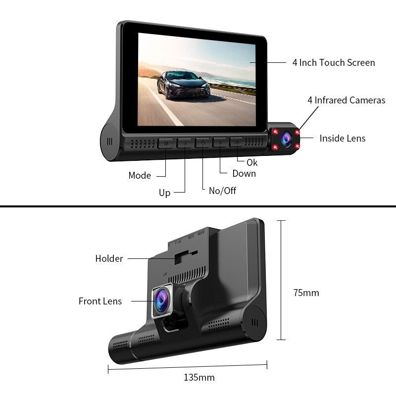 ACCEO Car DVR 3 Cameras Lens 4.0 Inch Dash Camera Dual Lens With Rearview Camera Video Recorder Auto Registrator Dvrs Dash Cam 4