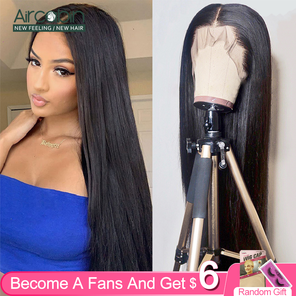 Aircabin Brazilian 30 Inch 13x6 Lace Front Closure Wigs Glueless Straight Human Hair Wigs For Black Women 150% Density Non-Remy