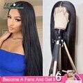 33052542691 - Aircabin brasileño 30 pulgadas 13x6 pelucas de encaje cierre frontal pelucas de cabello humano lacio sin pegamento para mujeres negras 150% densidad no Remy