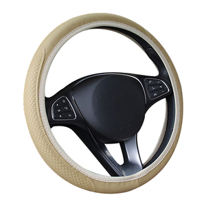 Image 4 - New Car Steering Wheel Cover Artificial Leather Elastic Skidproof Auto Steering  Wheel Embossing Leather Over Car styling