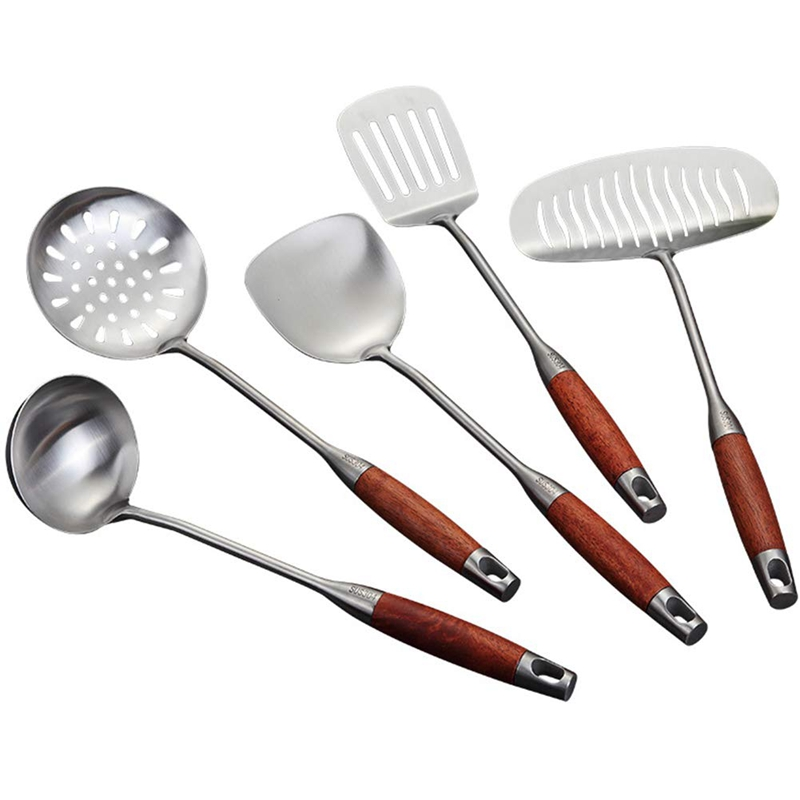 Kitchen Set   5 Pieces Of Stainless Steel Cookware with Non Slip Wooden Handle  Including Spatula Spoon  Durable Cookware  5 Kitchen Gadget Sets     - title=