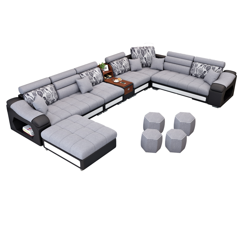 new arrival modern design u shaped sectional 7 seater fabric corner sofa title=