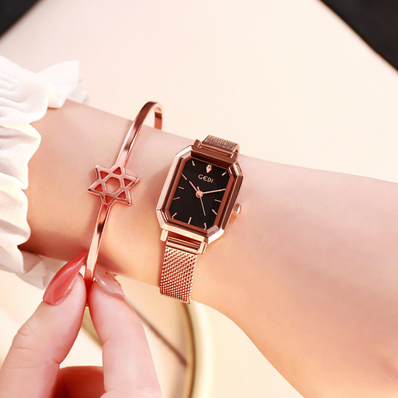 Luxury Brand lady Crystal Watch Women Dress Watch Rose Gold Waterproof Square Watches Female Stainless Steel Wristwatches INS image