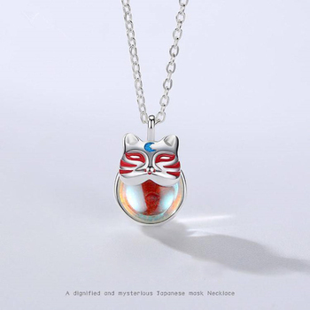 Fashion Novel Japanese God Bless Cat Mask Necklace with Shiny Crystle Silver Plated Chokers Necklace for Women Jewelry T113ETE image