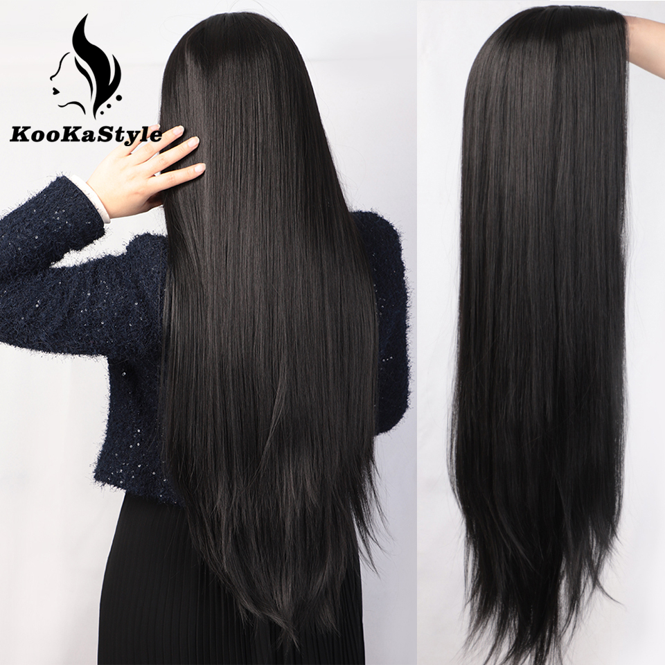 KookaStyle Wigs for Women Long Straight Wigs Mid-Point Women's Wig 28inches Heat-Resistant Wigs Black/Res/Brown Natural Hair