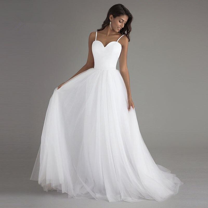 Image 3 - Booma Spaghetti Strap Beach Wedding Dresses 2019 Vestido Noiva  Praia White Tulle with Sashes Boho Bridal Gown A line Bride  dressWedding Dresses