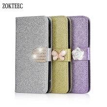 цена на ZOKTEEC Hot Sale New Fashion Bling Diamond Glitter PU Flip Leather Case For Motorola MOTO E4 C G4 G5 G5S Plus G4 Cover Case capa
