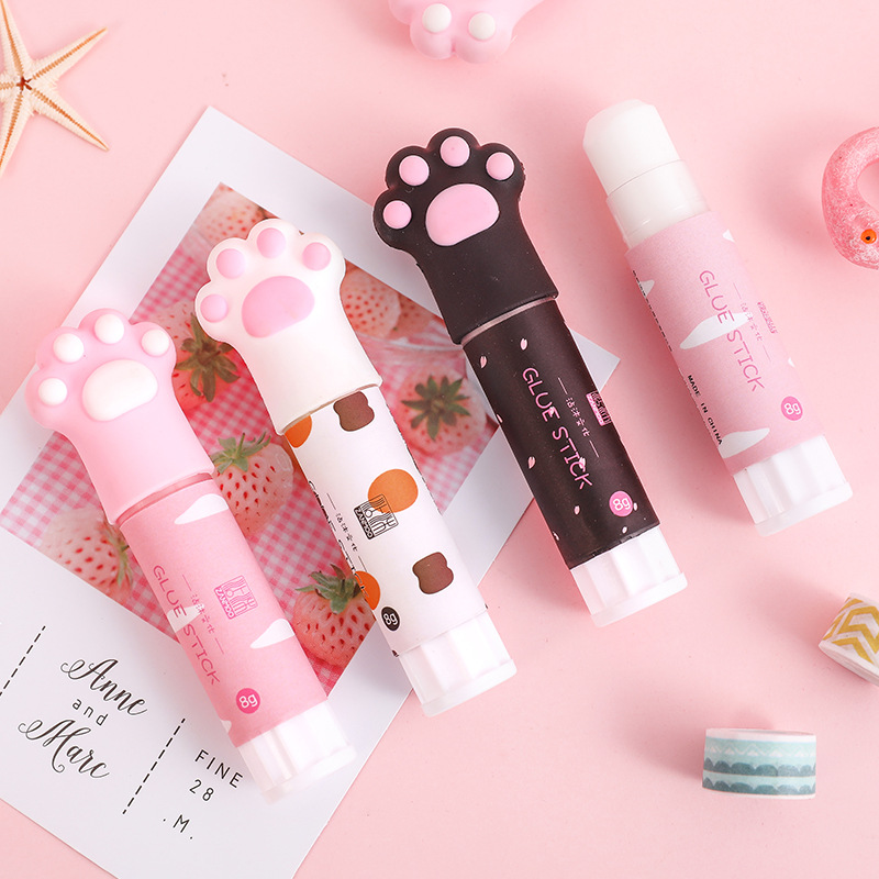 1 PCS Kawaii Glue Stick High Viscosity Cat Claw Cute Stick Glue School Glue Elmers School Supplies Student Kawaii Stationery