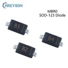 100 pces smd schottky barreira diodos mbr0520lw b2 mbr0530w b3 mbr0540w b4 20v 30v 40v componentes eletrônicos sod-123