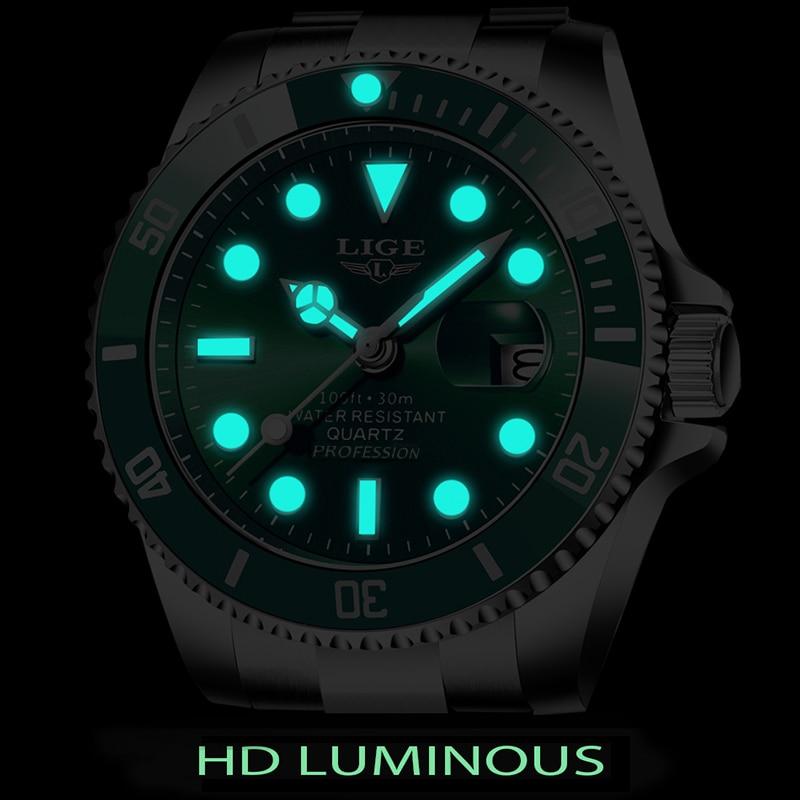LIGE Top Brand Luxury Fashion Diver Watch Men 30ATM Waterproof Date Clock Sport Watches Mens Quartz Wristwatch Relogio Masculino 3