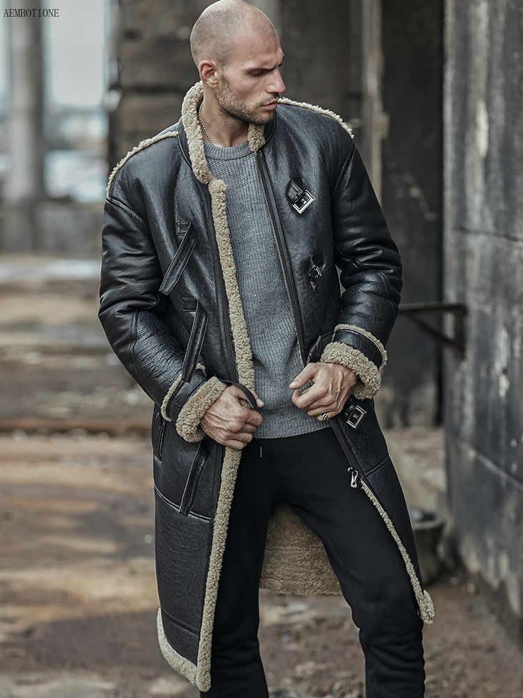 Neue Real Schaffell Mantel Aus Echtem Leder Männlichen Casual Winter Dicke Herren Leder Jacke Warme Männer Pelz Lange Outwear