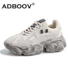 ADBOOV New Genuine Leather Chunky Sneakers Women Plus Size 35-42 Platform Shoes Woman Distressed Sneakers Ladies Basket Femme(China)