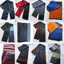 Мужской шелковый шарф винтажный зимний теплый шейный платок двухсторонний мягкий ворс 180*32 см
