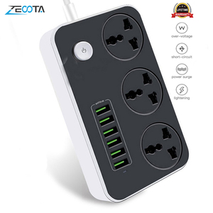 Image 1 - Power Strip Universal Socket 3 Outlets 6 Quick USB 5V 3.4A 17W Charging Station 2500W Surge Protector 6.5ft Cord Circuit Breaker
