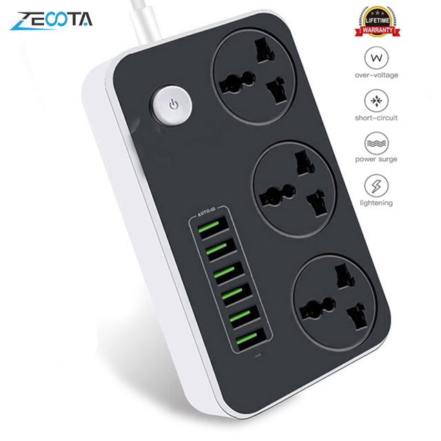 Power Strip Universal Socket 3 Outlets 6 Quick USB 5V 3.4A 17W Charging Station 2500W Surge Protector 6.5ft Cord Circuit Breaker