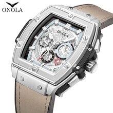 Onola tonneau quadrado relógio mecânico automático homem marca de luxo único relógio de pulso moda casual clássico designer masculino