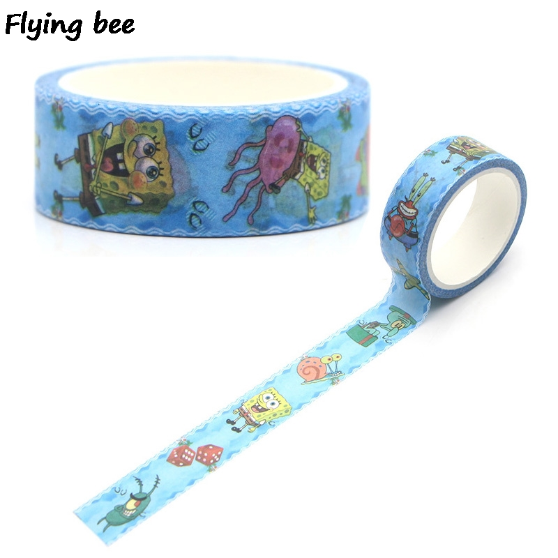 Flyingbee 15mmX5m Cute Cartoon Washi Tape Paper DIY Decorative Adhesive Tape Stationery Kawaii Masking Tapes Supplies X0269