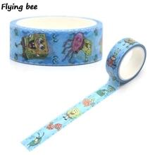 Flyingbee 15mmX5m Cute Cartoon Washi Tape Paper DIY Decorative Adhesive Stationery Kawaii Masking Tapes Supplies X0269