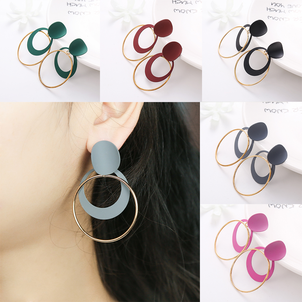 Blue Color Round Drop Earring For Women Zinc Alloy Double Circle Earring Simple Style Earring Fashion Jewelry Gift For Friend