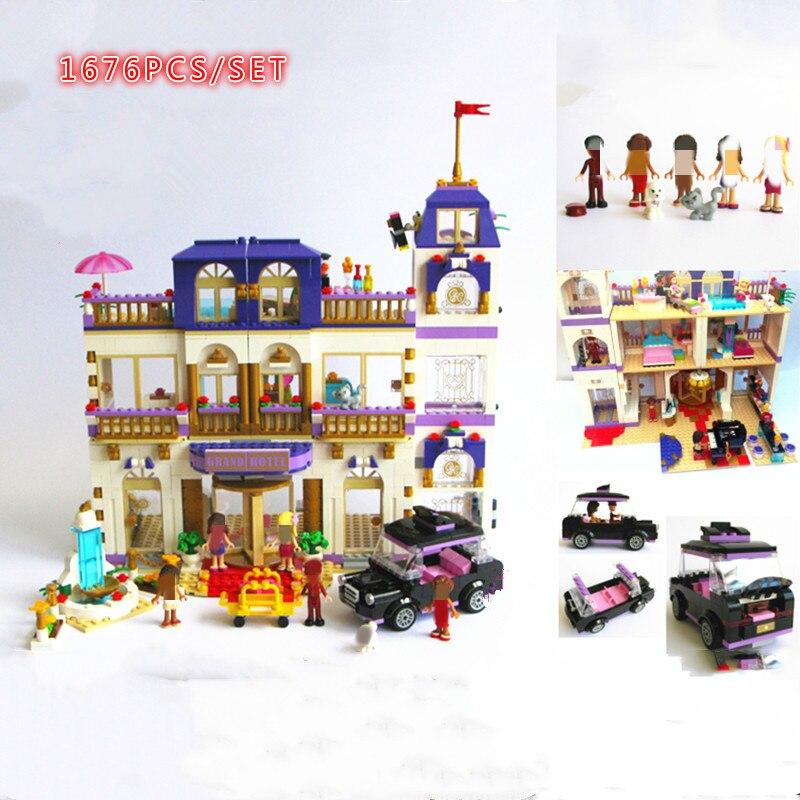 Friends Series Heartlake Grand Hotel  Friends figures city Model Building Blocks Bricks diy toys girl kid gift