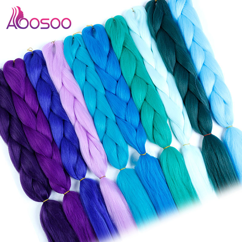 AOOSOO   Long Ombre Jumbo Synthetic Braiding Hair For White Crochet Blonde Pink Blue Red Hair Extensions  High Temperature Fiber
