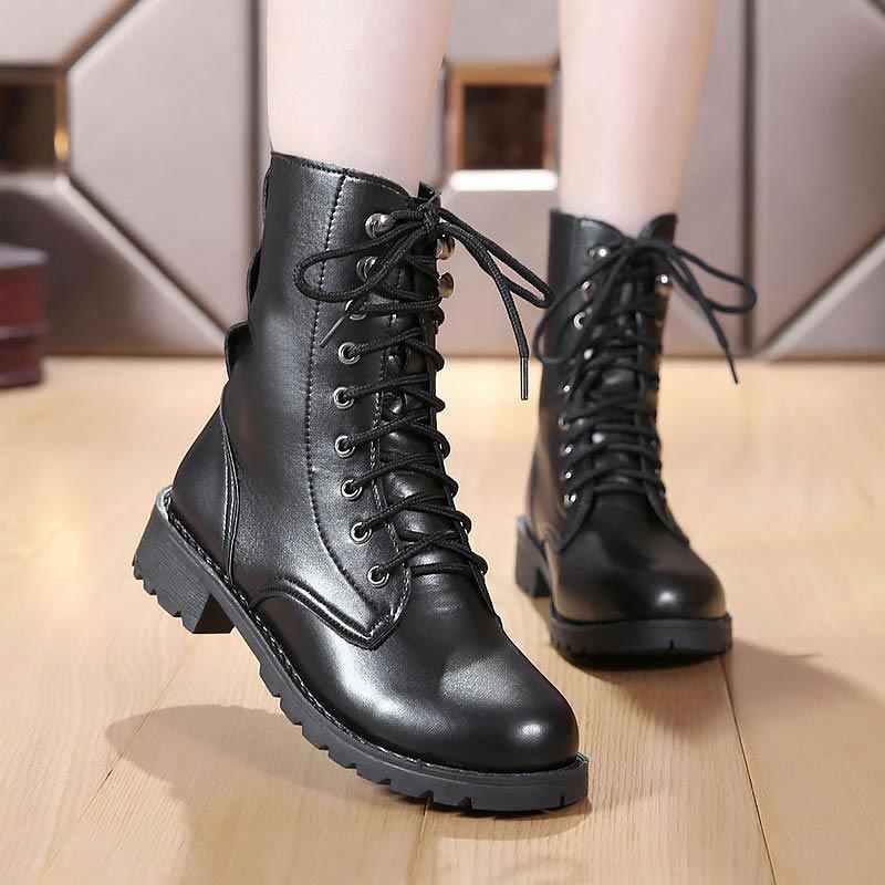 Da Pu Đế Mắt Cá Chân Giày Nữ 2019 Đen Nữ Mùa Đông Ủng Mùa Đông Buộc Dây Thời Trang Đinh Tán Thuyền Nữ giày