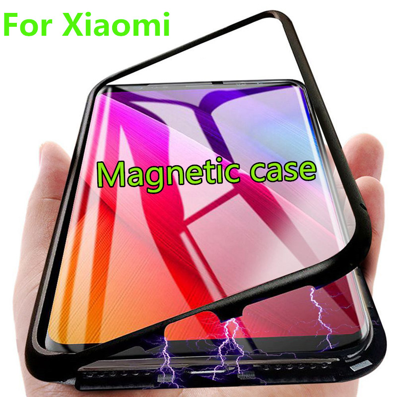 Metal Magnetic Case For Xiaomi Redmi K20 Note 7 pro 5 6 Pro Glass Magnet Case For Mi CC9 9 8 SE Lite A3 Pocophone F1 Phone Cover