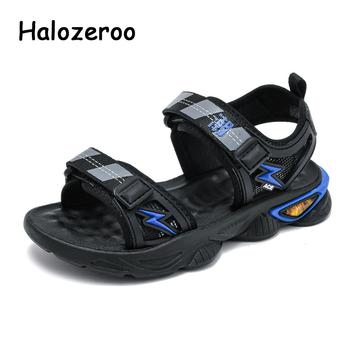 Nowe letnie dziecięce sandały plażowe dziecięce chłopięce Casual Sandalias dziecięce buty markowe dziewczęce miękkie czarne sandały siatkowe modne buty 2021 tanie i dobre opinie Halozeroo RUBBER 3-6y 7-12y 12 + y CN (pochodzenie) Lato Unisex Miękka skóra Płaskie obcasy Hook loop Siateczka (przepuszczająca powietrze)