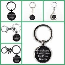 цена Popular Retro Hunter Supplies Home Dean Winchester Sam Mode Keyring Text Religious Convex Glass Keychain Friend Fan Gift Fashion онлайн в 2017 году
