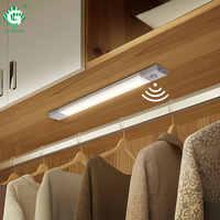 Светодиодная подсветка под шкаф PIR 40 см, датчик движения 5 в 1,2 Вт, беспроводные светильники для шкафа, магнитные кухонные шкафы, шкаф, ночник, ...