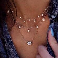 Винтажное многослойное ожерелье в стиле бохо с кристаллами, Турецкая звезда, модное золотое ожерелье с подвеской, колье для женщин