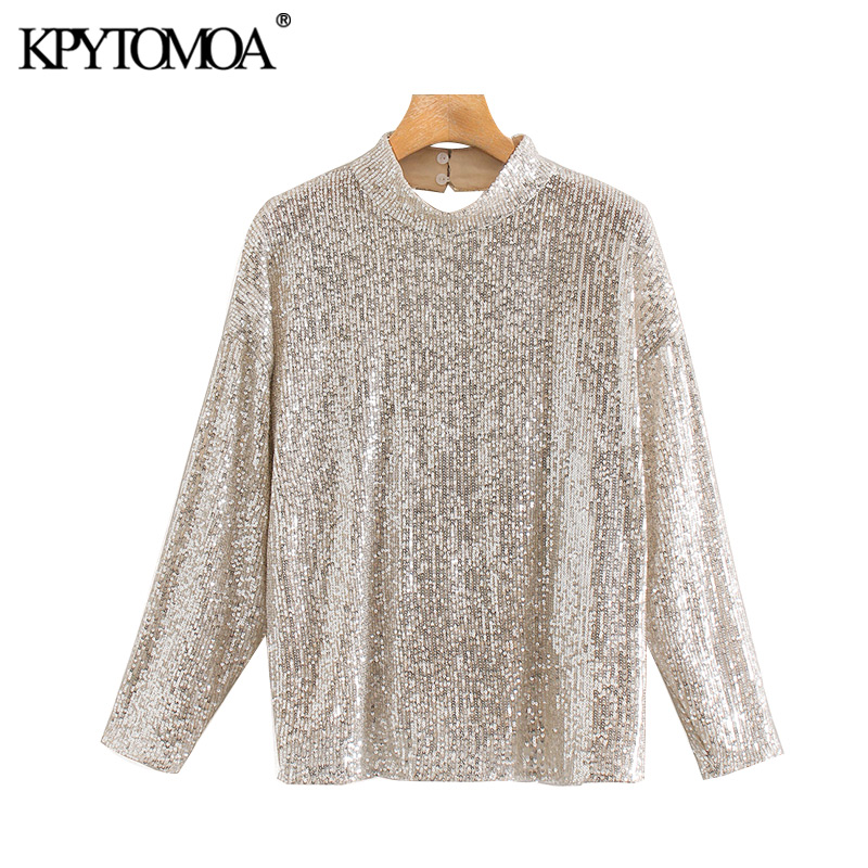KPYTOMOA Women 2020 Sexy Fashion Sequined Blouses High Neck Long Sleeve Backless Female Shirts Blusas Chic Tops