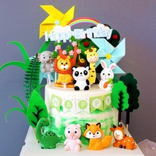 Animal Cake Topper Cake Decor Birthday Party Jungle Safari Animal Party 1st First Baby Shower Happy Birthday Party Decor Kids