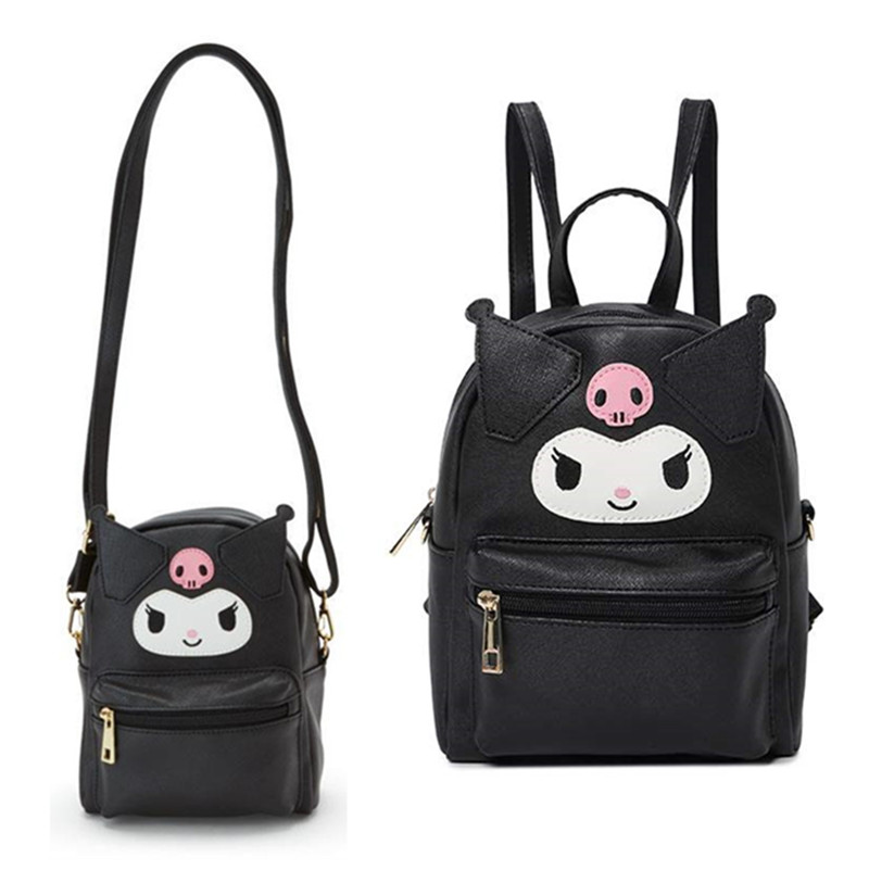 Cute My Melody Cinnamoroll Kuromi PU Leather Shoulder Messenger Bag Small Back Pack Crossbody Bags For Women Girls Sling Bag