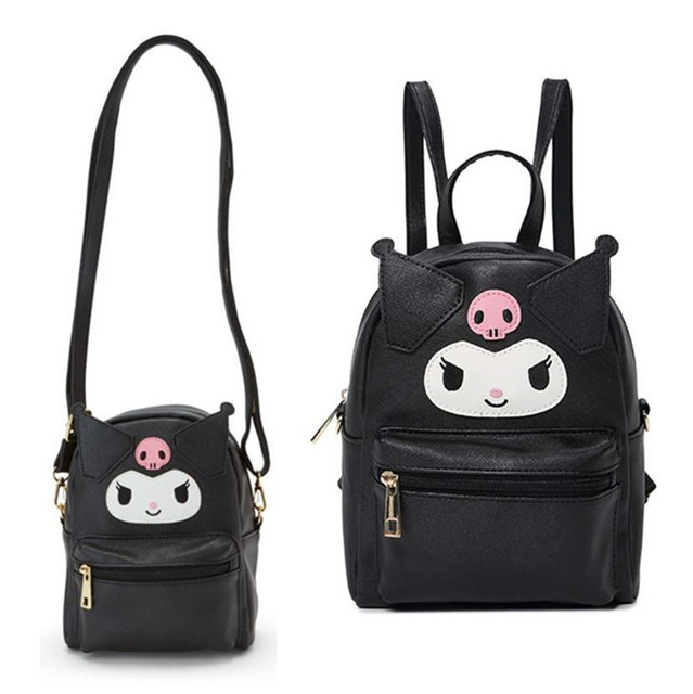 Śliczna moja melodia Cinnamoroll Kuromi skórzana torba na ramię mała plecak Crossbody torby dla kobiet dziewczynki torba ze sznurkiem