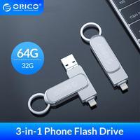 ORICO OTG USB Flash Drive 3-In-1 U Disk 64GB 32GB USB3.0 di Memoria Flash USB stick Flash Disk Per Il Telefono/Tablet/PC